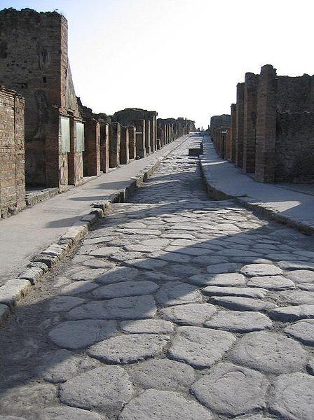 cobblestone street in rome